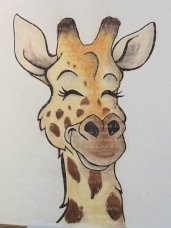 """Grateful Giraffe"" ink and pastels"
