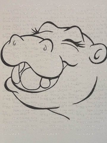 """Happy Hippo"" line drawing"